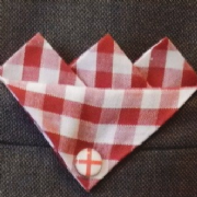 Red Gingham Pocket Hankie with St. Georges Cross Pin